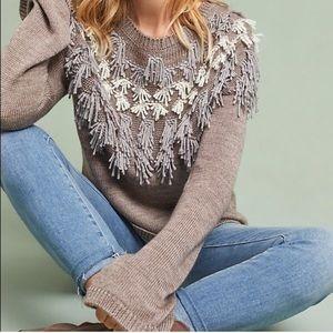 Anthropologie AMADI Fringe Wool Blend Knit Sweater